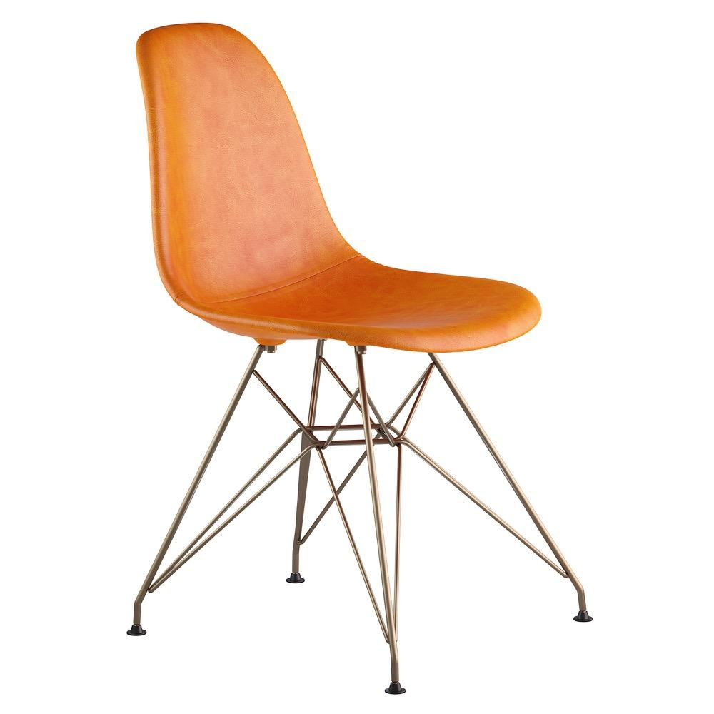 Mid Century Eiffel Side Chair In Burnt Orange Leather With Brushed Brass  Legs Accent Chairs ...