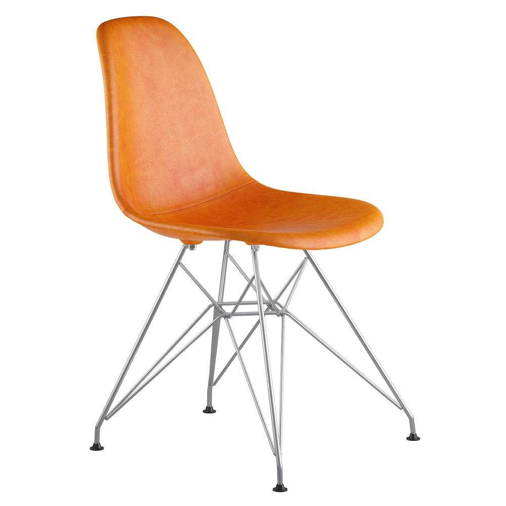 Mid Century Eiffel Side Chair In Burnt Orange Leather With Brushed Nickel  Legs Accent Chairs ...