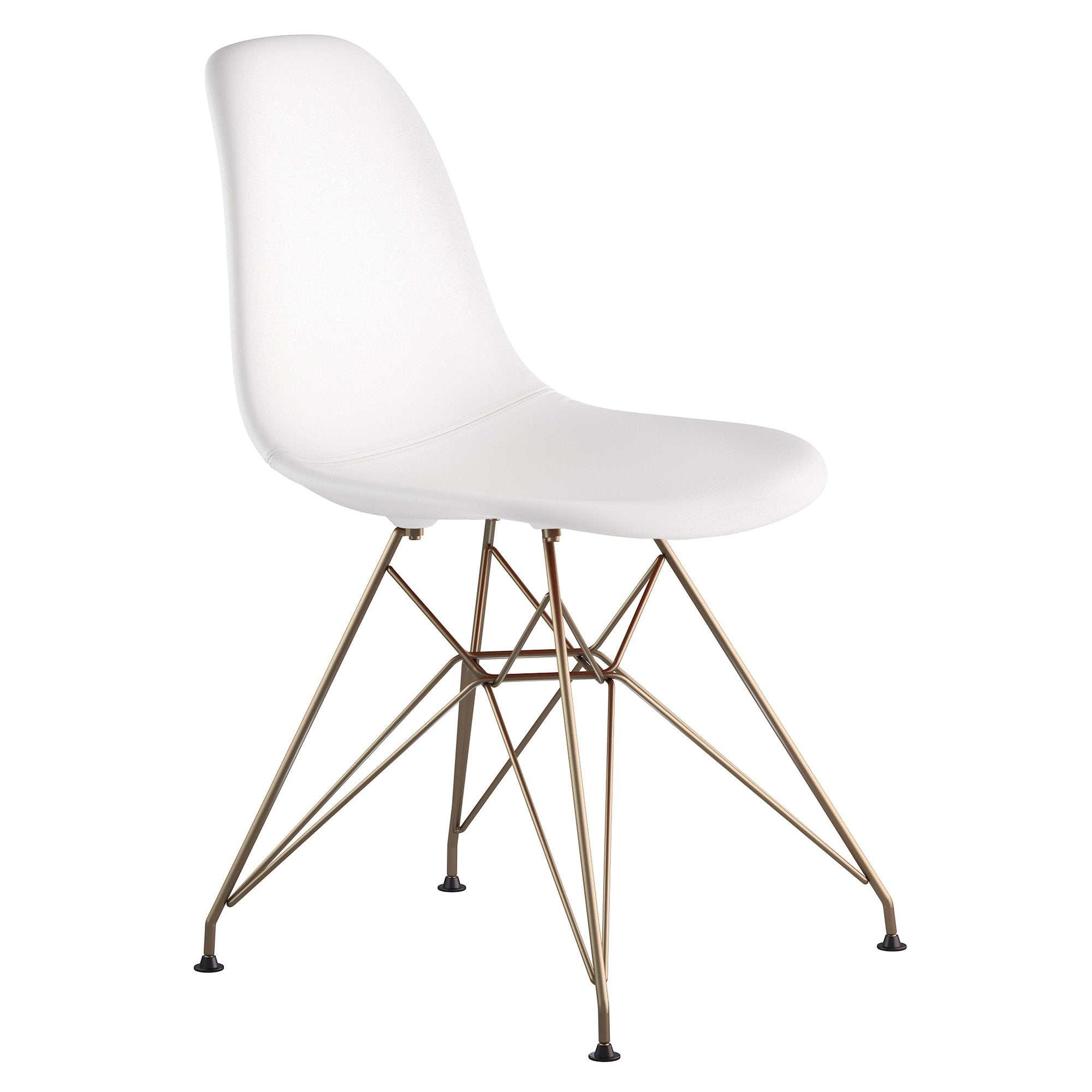 Mid Century Eiffel Side Chair In Milano White Leather With Brushed Brass  Legs Accent Chairs ...