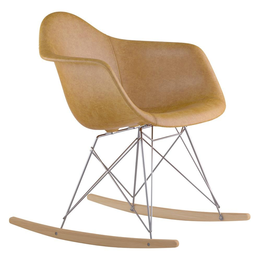 Mid Century Rocker Chair In Aged Maple Leather With Natural Wood Legs Accent  Chairs  ...
