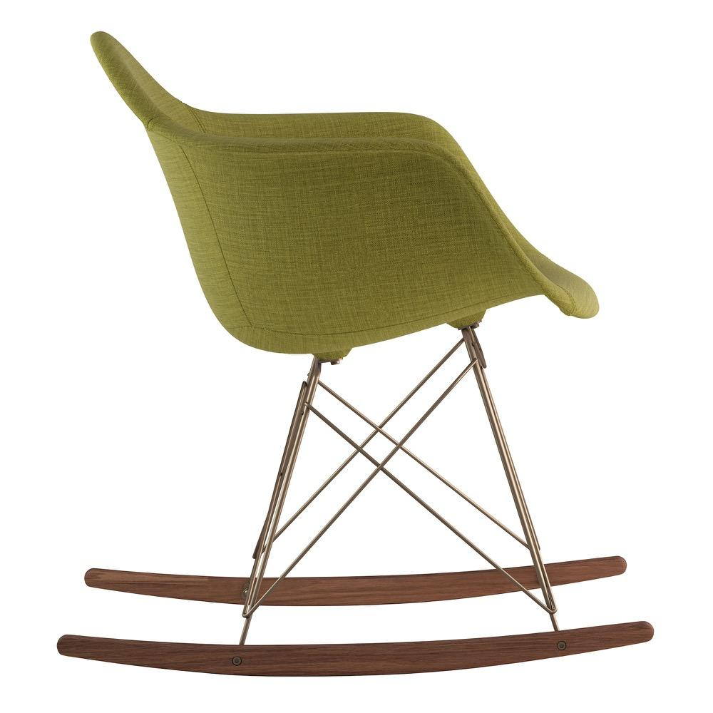 ... Mid Century Rocker Chair In Avocado Green Fabric With Walnut Wood Legs Accent  Chairs  ...