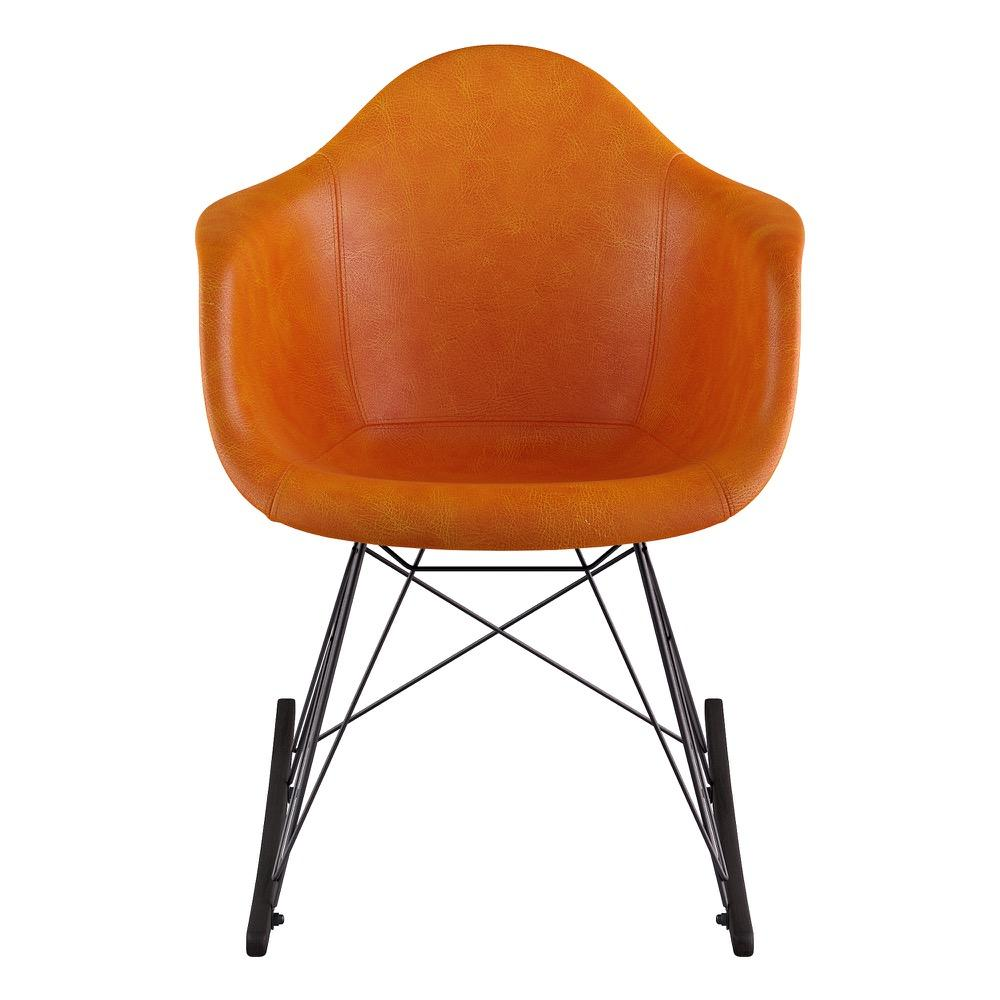 ... Mid Century Rocker Chair In Burnt Orange Leather With Black Wood  Legs Accent Chairs  ...