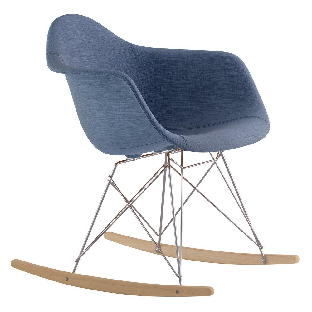 Mid Century Rocker Chair In Dodger Blue Fabric With Natural Wood Legs Accent  Chairs  ...