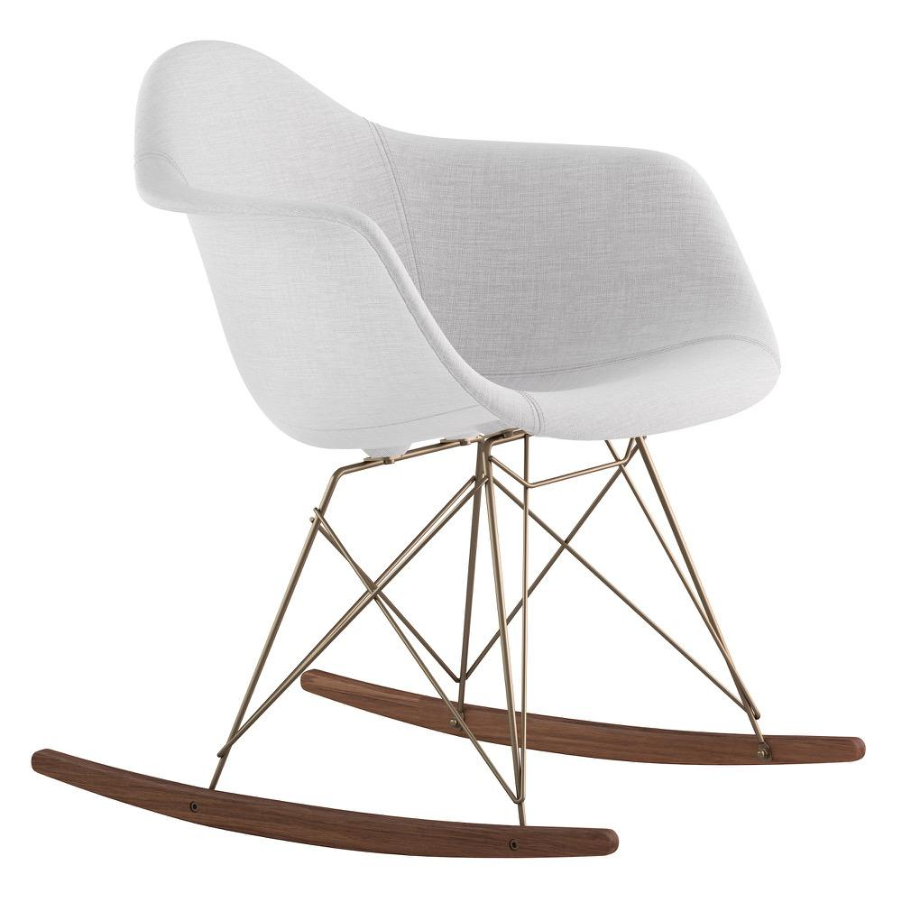 Mid Century Rocker Chair In Glacier White Fabric With Walnut Wood Legs Accent  Chairs  ...