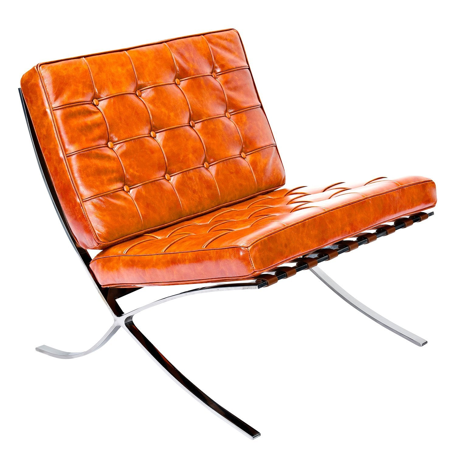 Mies Lounge Chair and Ottoman in Burnt Orange Leather on Stainless Ste