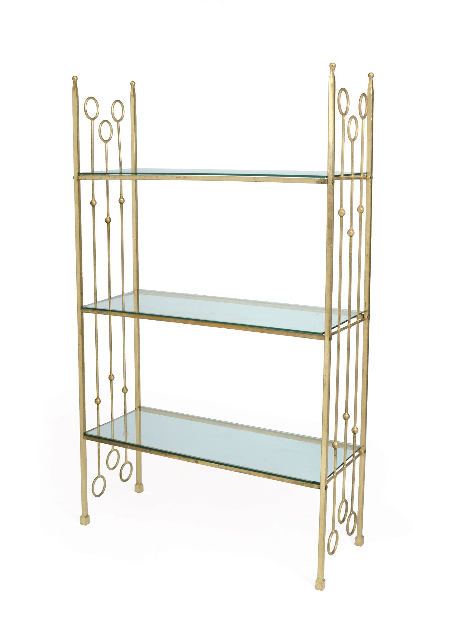 New Caste Iron Ring Shelving in Brass and Glass
