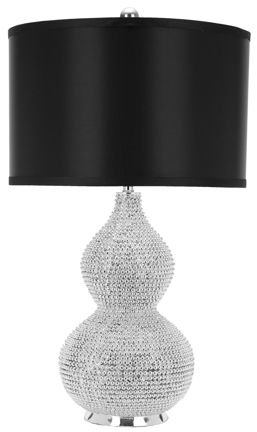 Nicole Bead Table Lamp In Silver With Black Shade Set Of 2