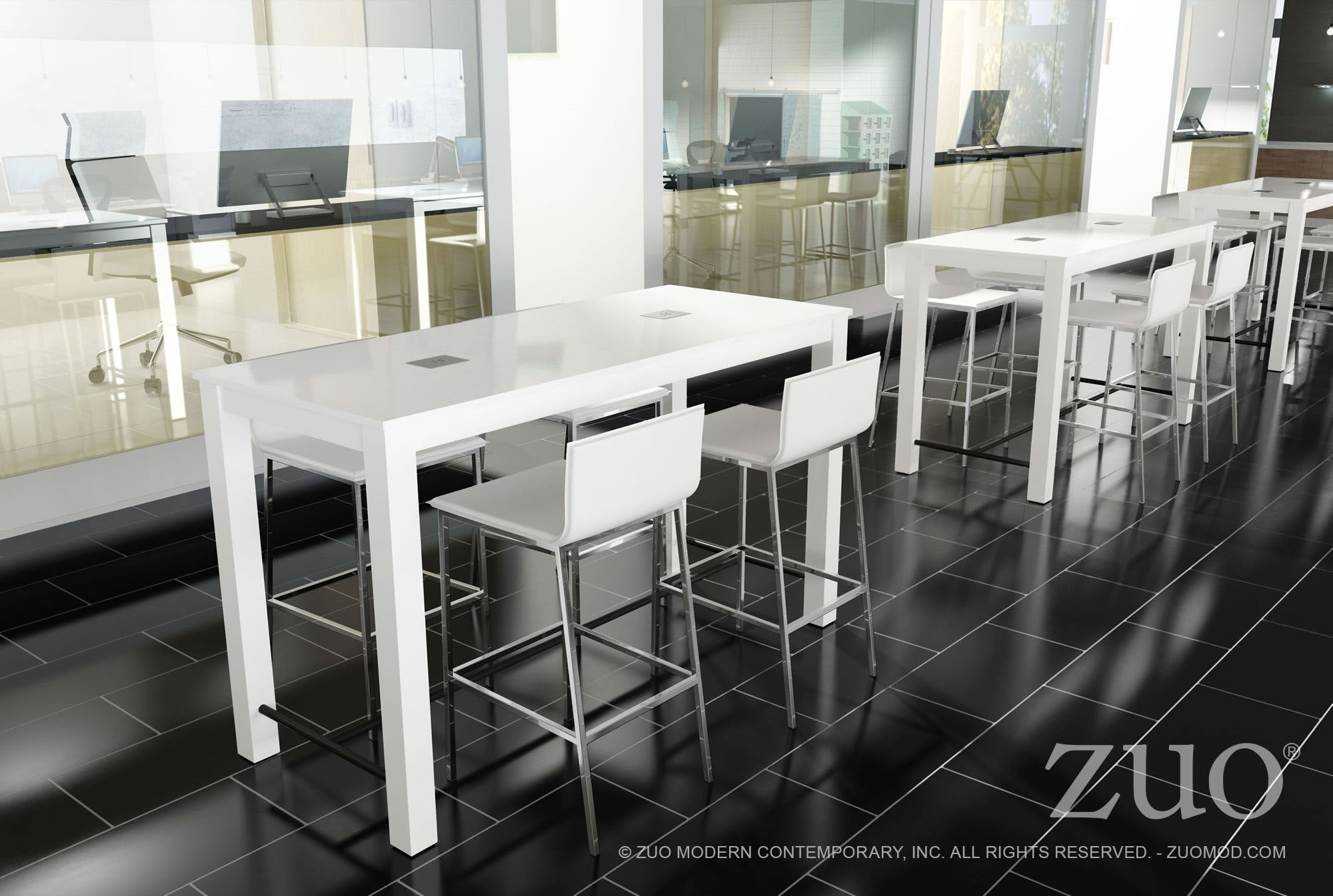 Odin Bar Table In White With USB Panel Tables Alan Decor