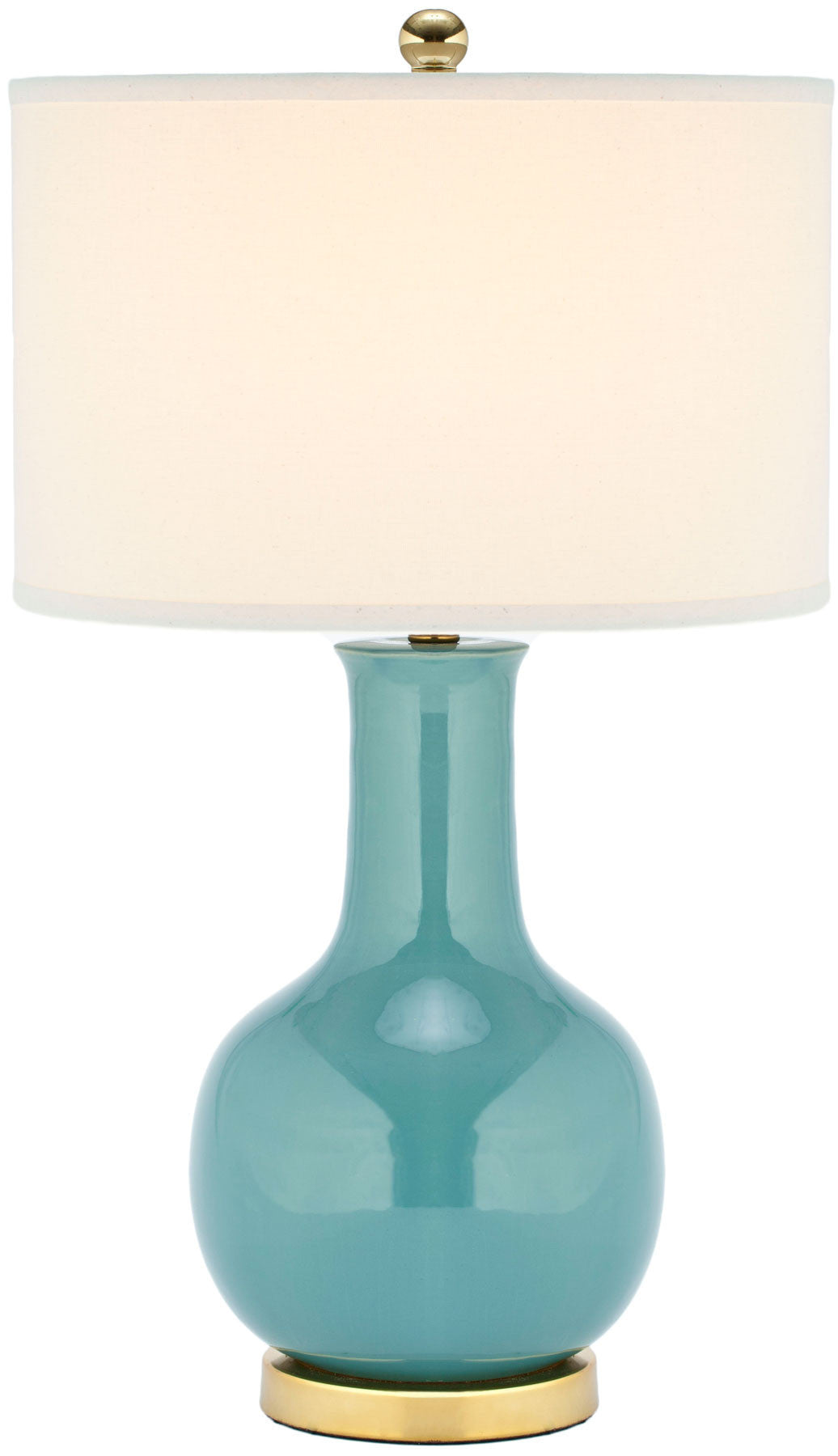 Paris Ceramic Table Lamp In Light Blue With White Shade