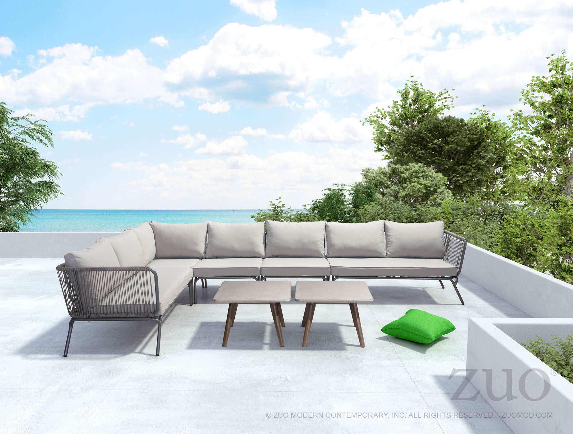 Pier Outdoor Single Corner Sectional Sofa Unit in Gray Aluminum & Fabr