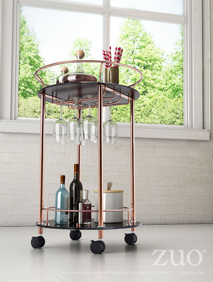 plato round serving cart in rose gold stainless steel with tempered glass bar carts - Rose Gold Bar Cart