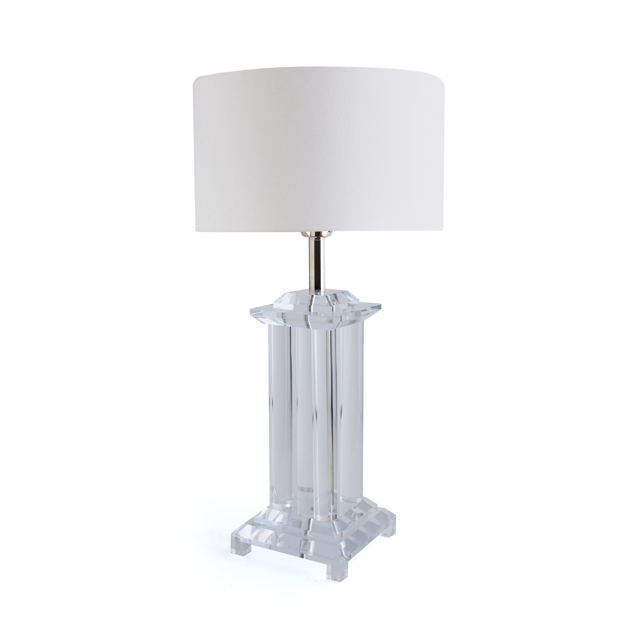 Preston Table Lamp With Hardback Linen Shade On Clear Lucite Base