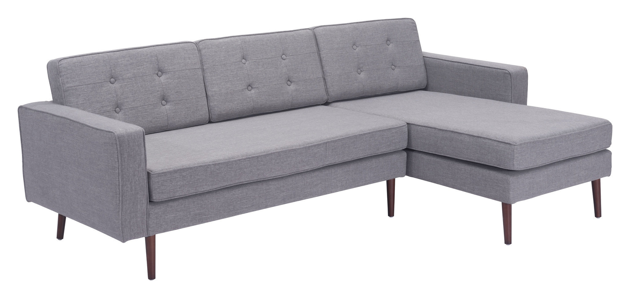 Pu Right Hand Facing Chaise Sectional Sofa in Button Tufted Gray Co