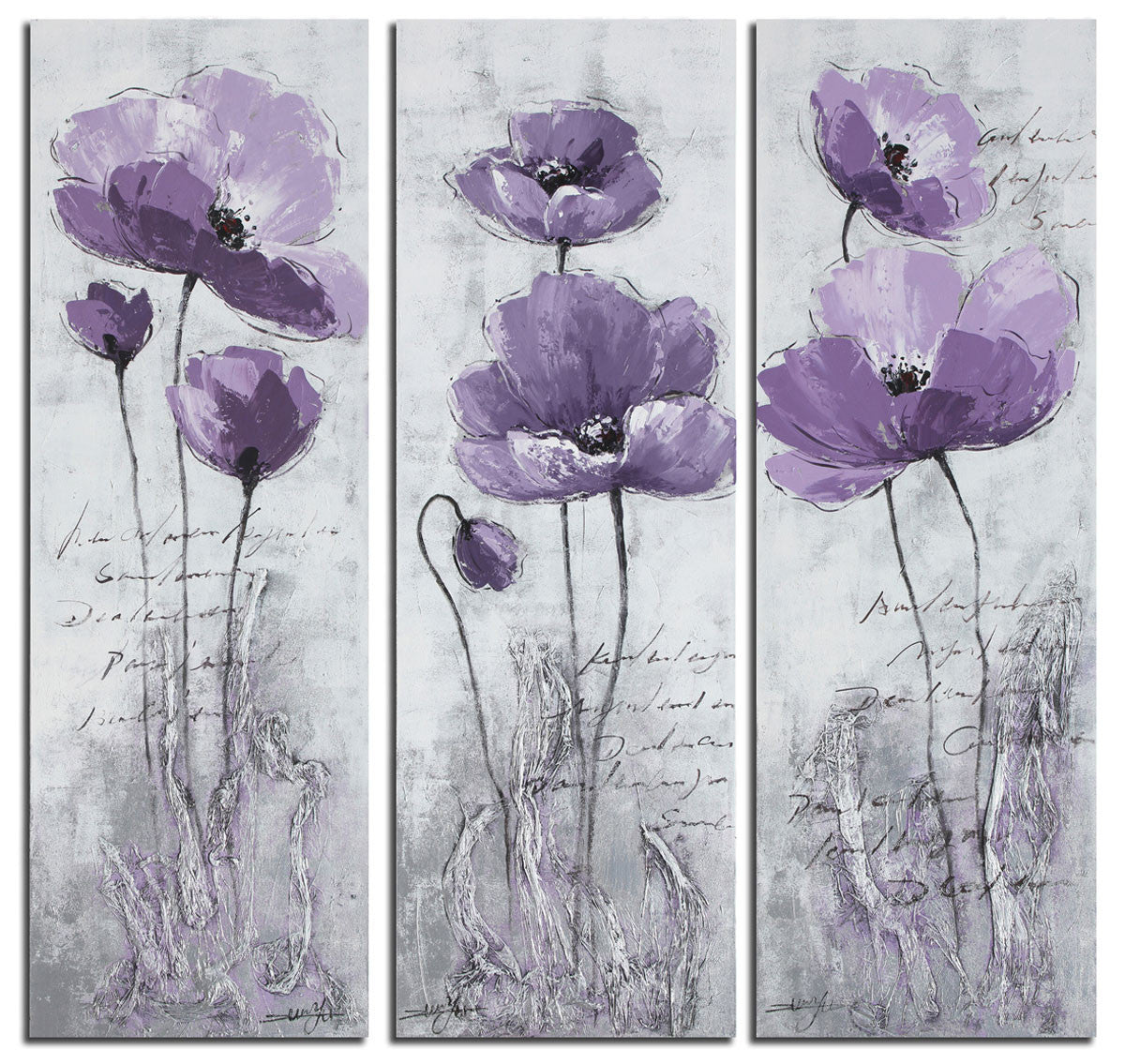 Purple Poppy 3 Piece Canvas Painting Wall Art Set