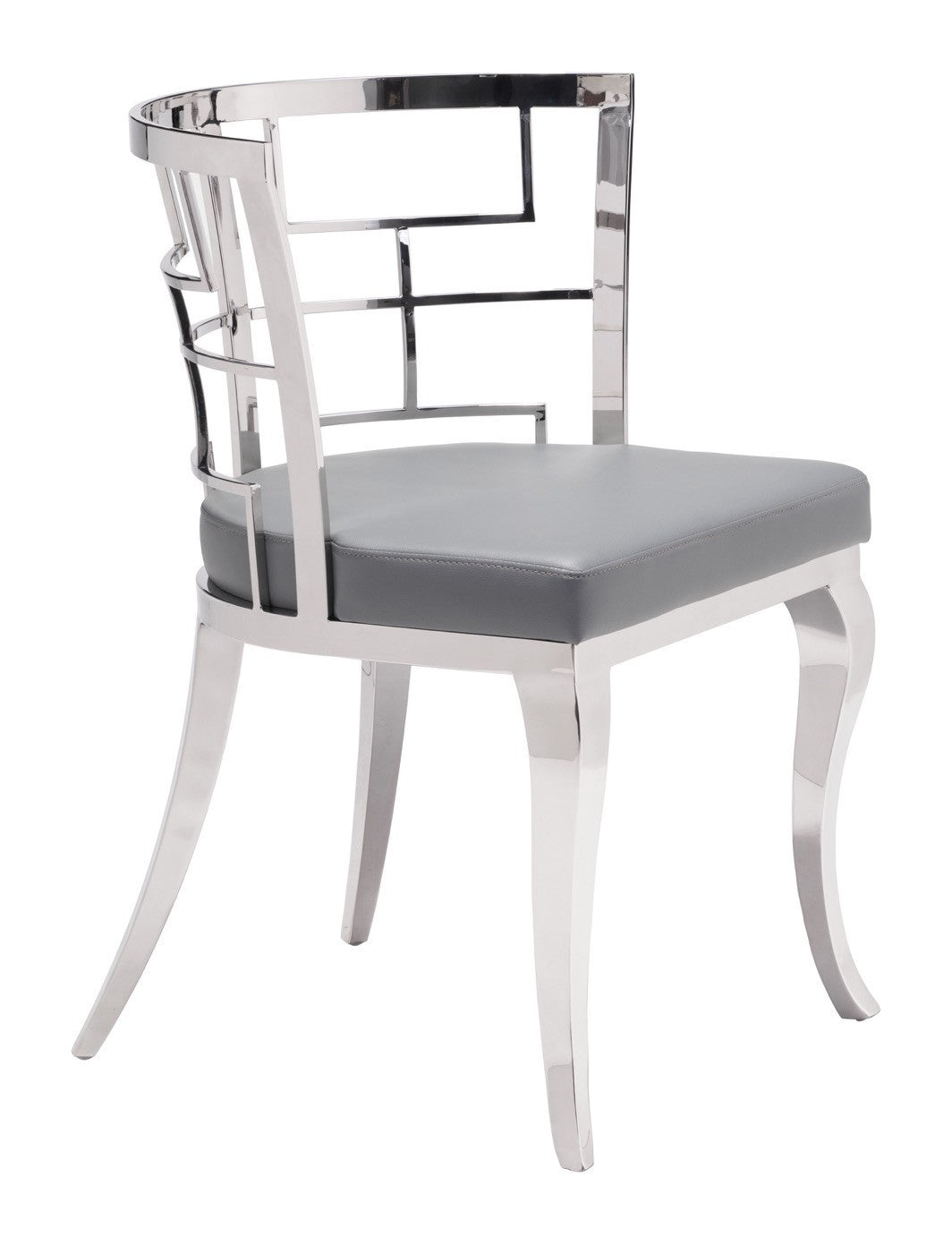 Quince Dining Chair In Gray Leatherette With Curved Geometric Steel Back  (Set Of 2) ...