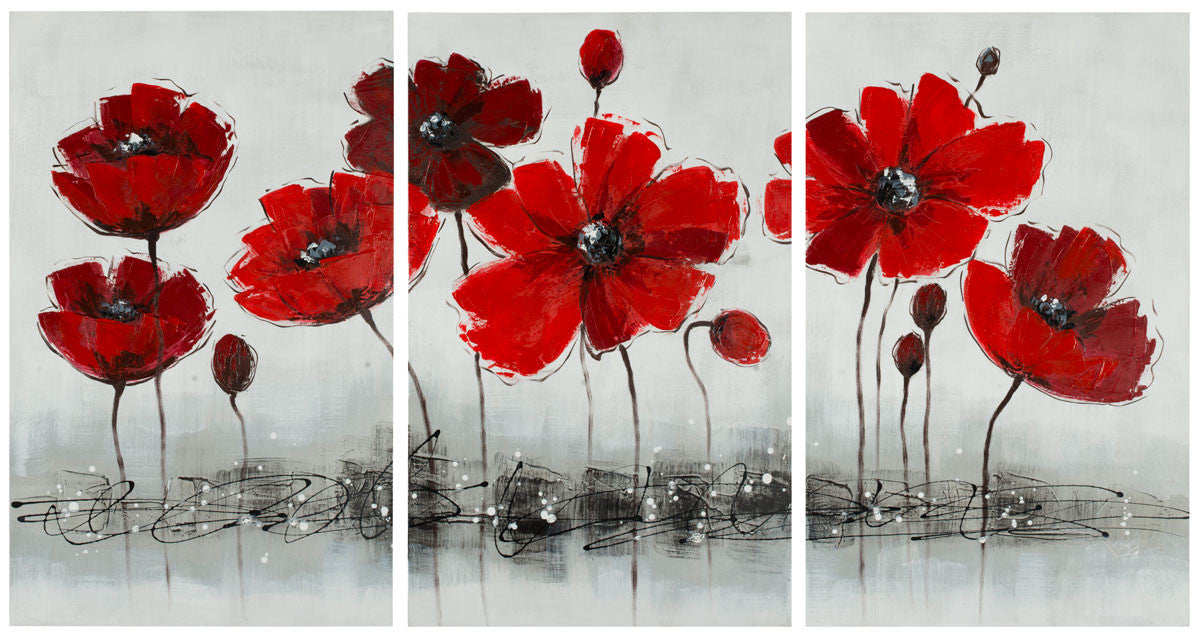 Red Flower 3-piece Canvas Painting Wall Art Set