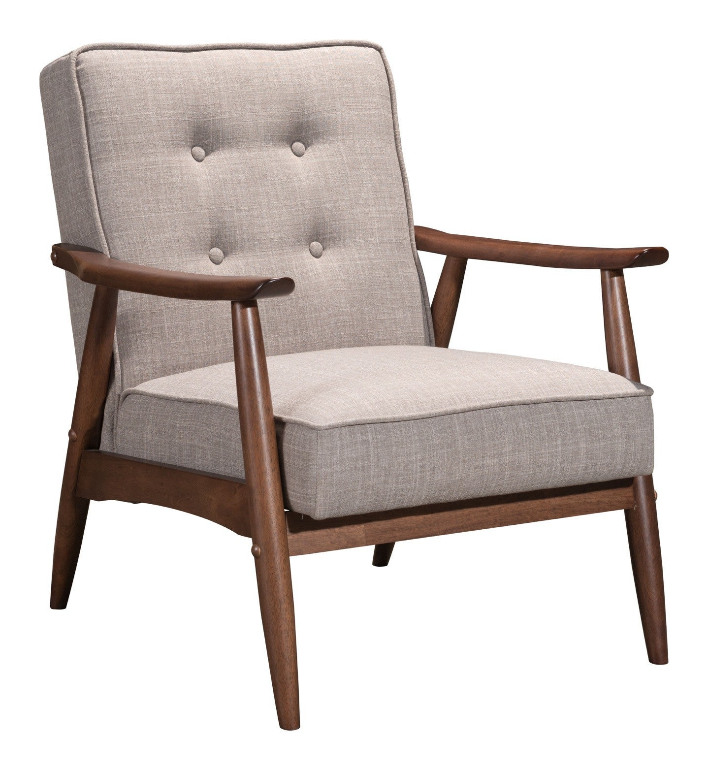 Rocky Arm Chair in Tufted Putty Gray Polly Linen on Walnut Finish Wood