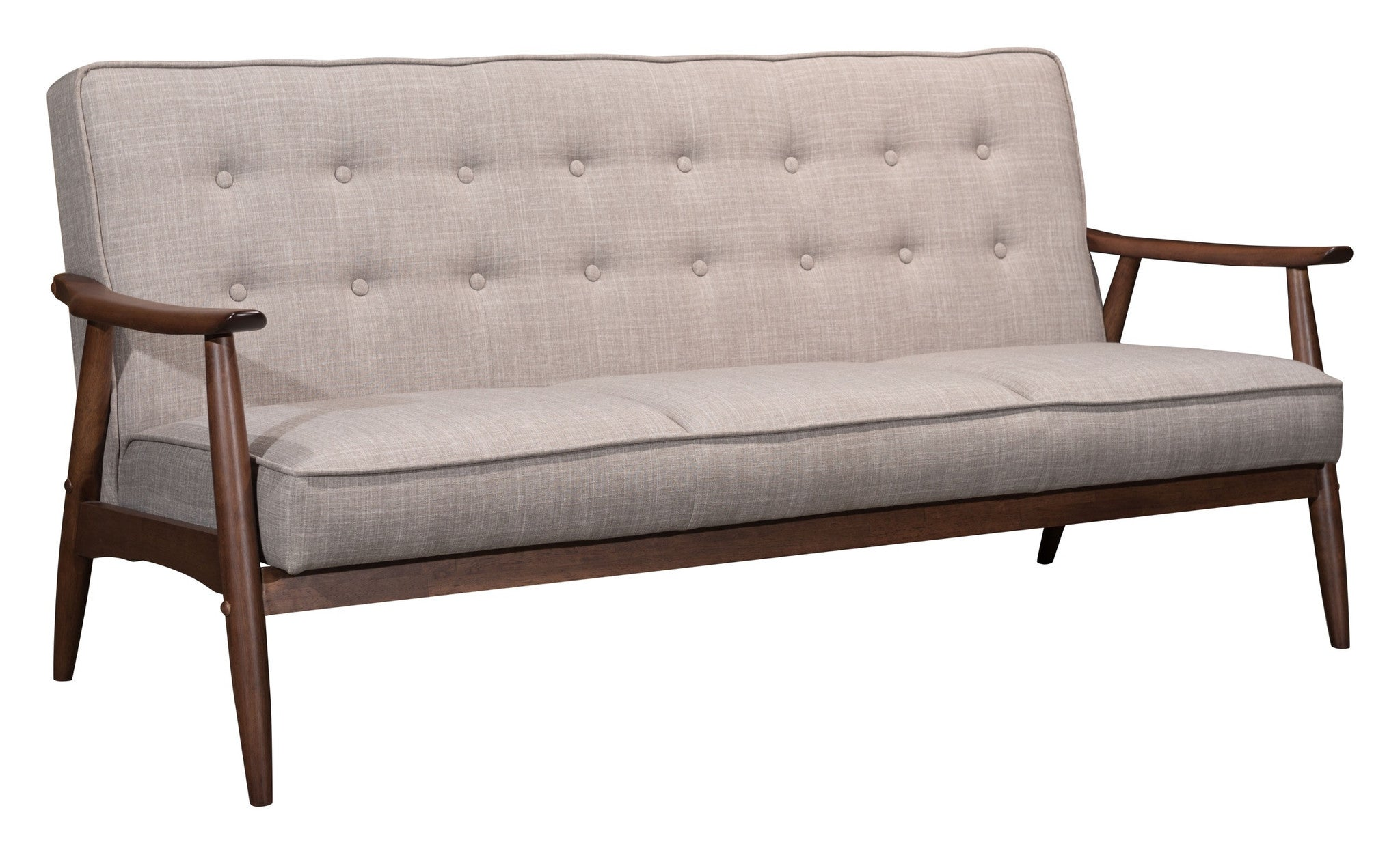 Rocky Sofa In Tufted Putty Gray Poly Linen On Walnut Finish Wood Frame Sofas   ...