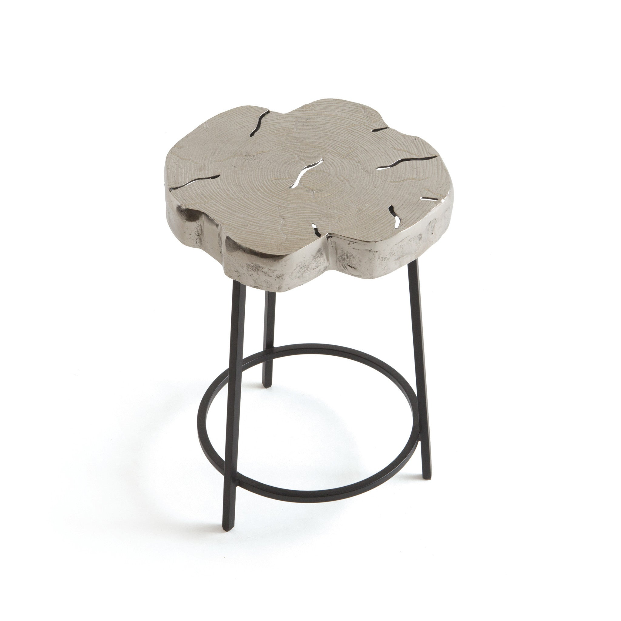 Rory Side Table In Brushed Nickel Aluminum And Iron Side Tables Alan Decor