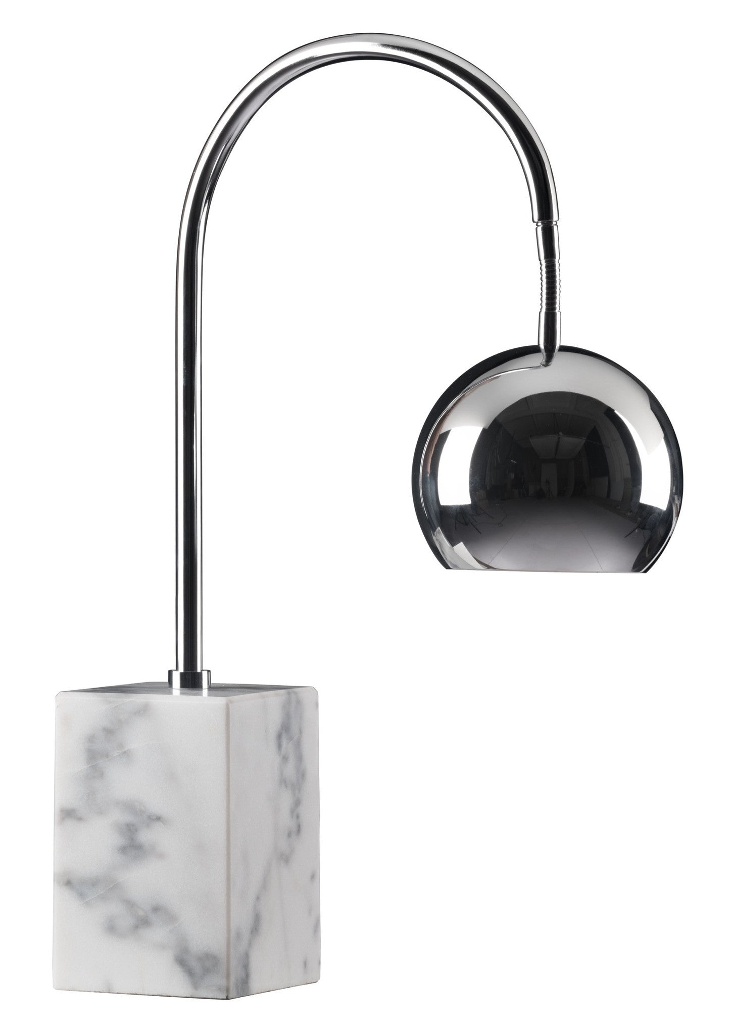 Run Table Lamp In Chrome With Marble Block Base