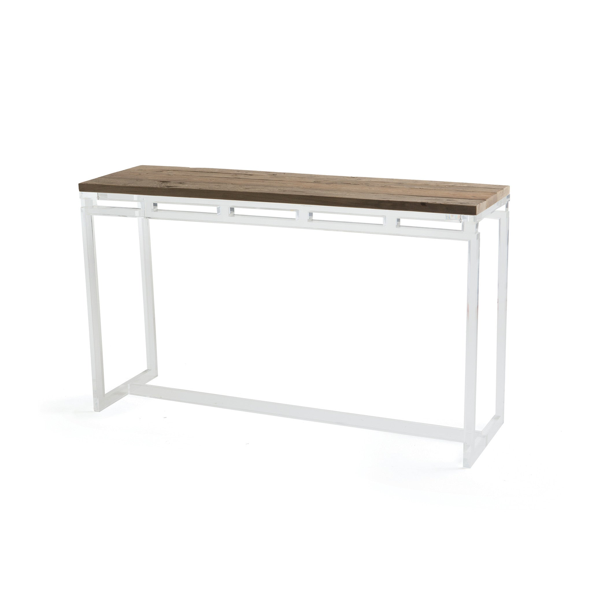 Sanders console table with vintage elm top on acrylic base sanders console table with vintage elm top on acrylic base console tables alan decor geotapseo Image collections