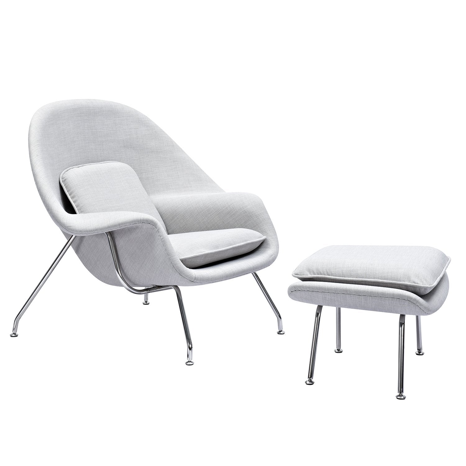 Saro Midcentury Modern Chair And Ottoman In Glacier White Fabric On  Stainless Steel Legs Accent ...