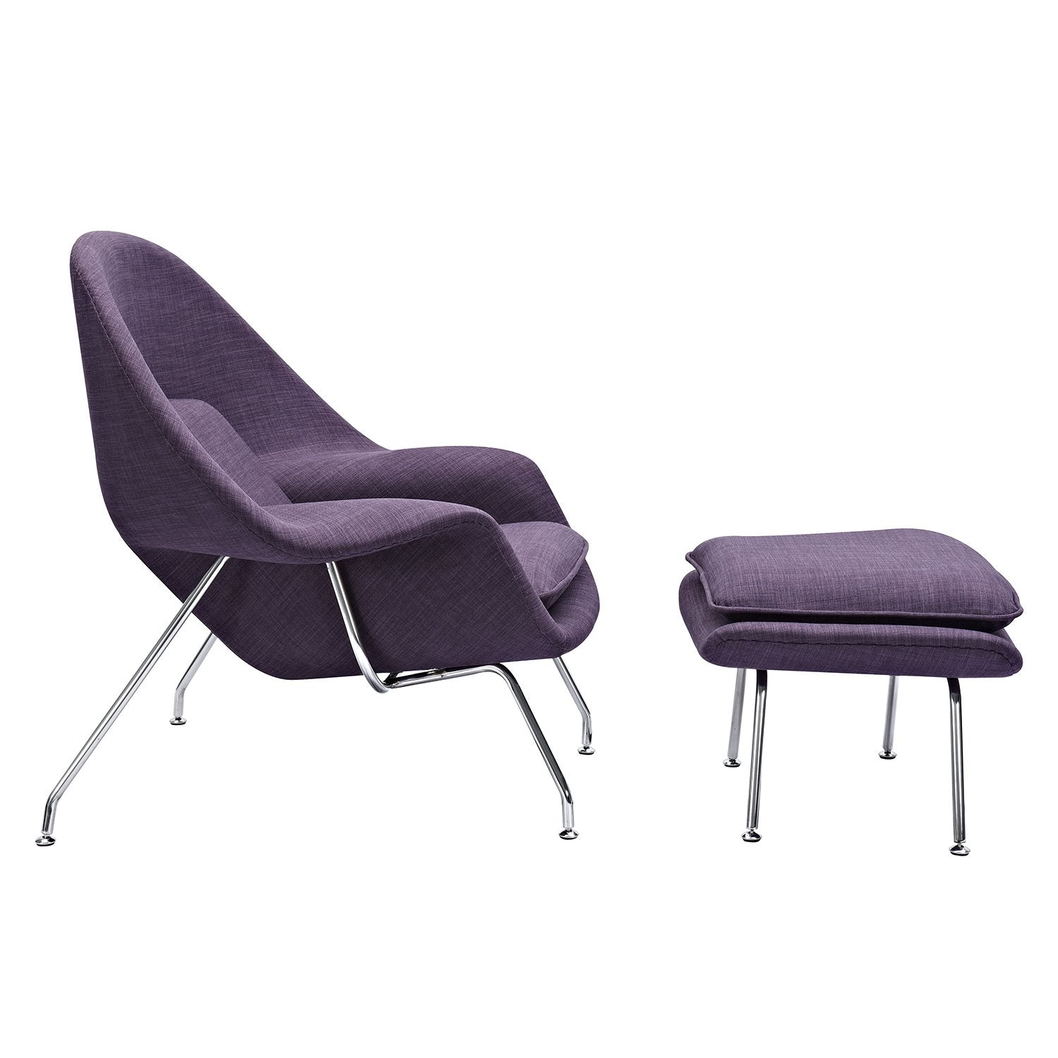 ... Saro Midcentury Modern Chair And Ottoman In Plum Purple Fabric On  Stainless Steel Legs Accent ...