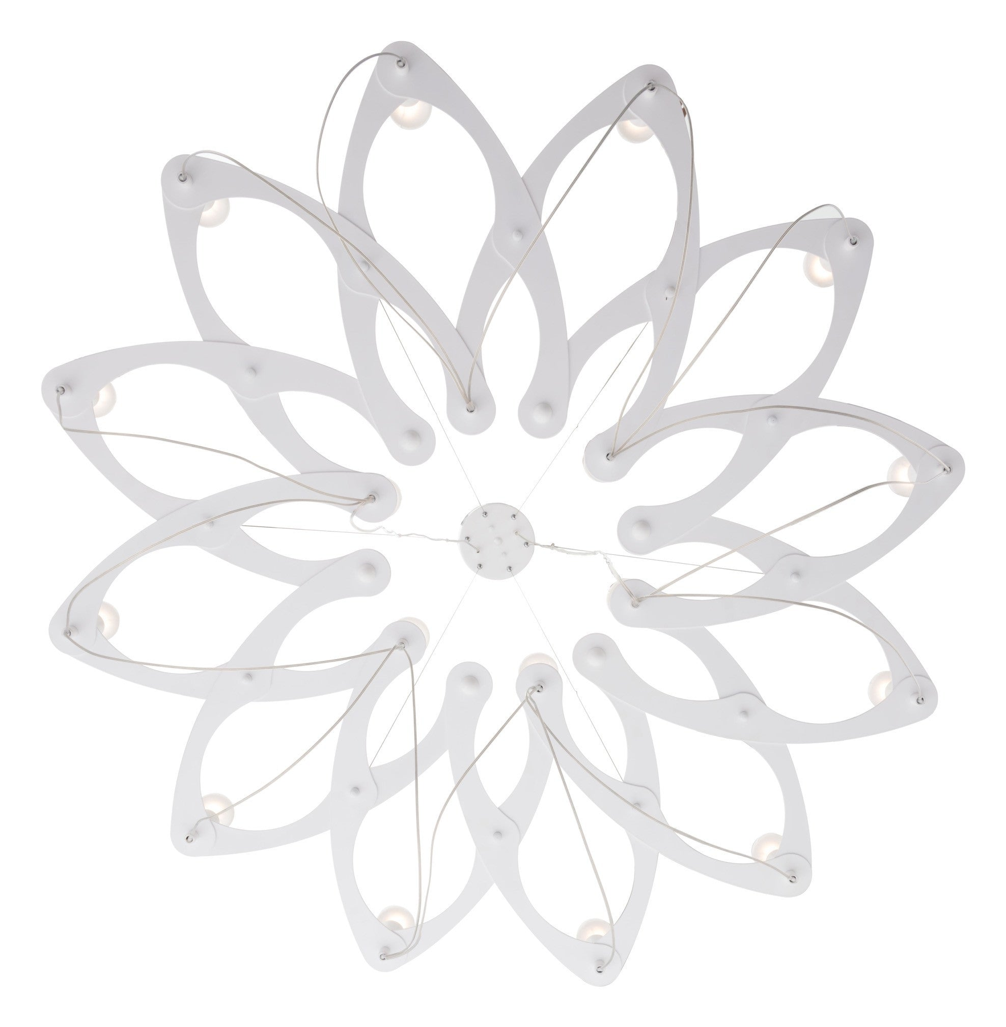 Scala Ceiling Lamp In White Flower Shape With 18 Lights