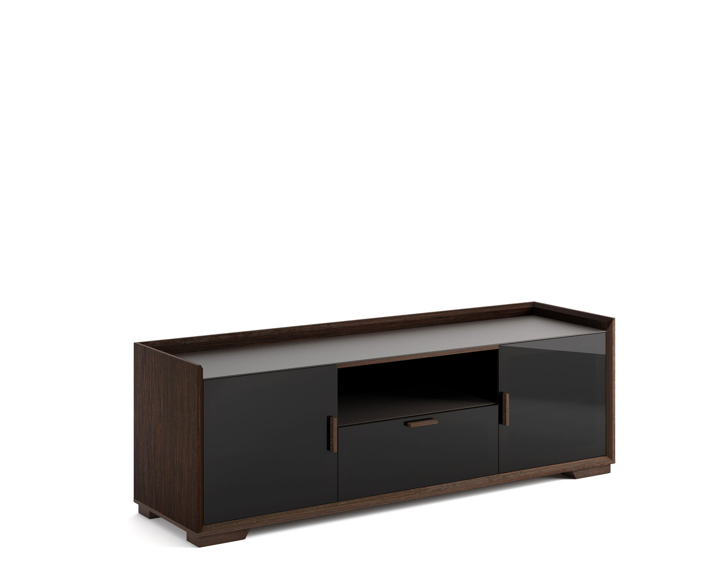 Sdav2 72 Tv Stand In Wenge Espresso With Black Glass