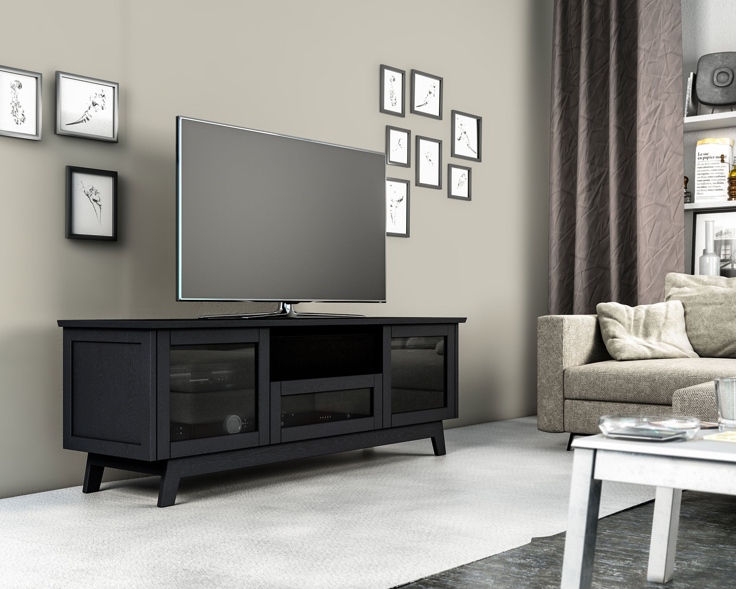 Sdav5 72 Tv Stand In Black Oak With Smoked Glass