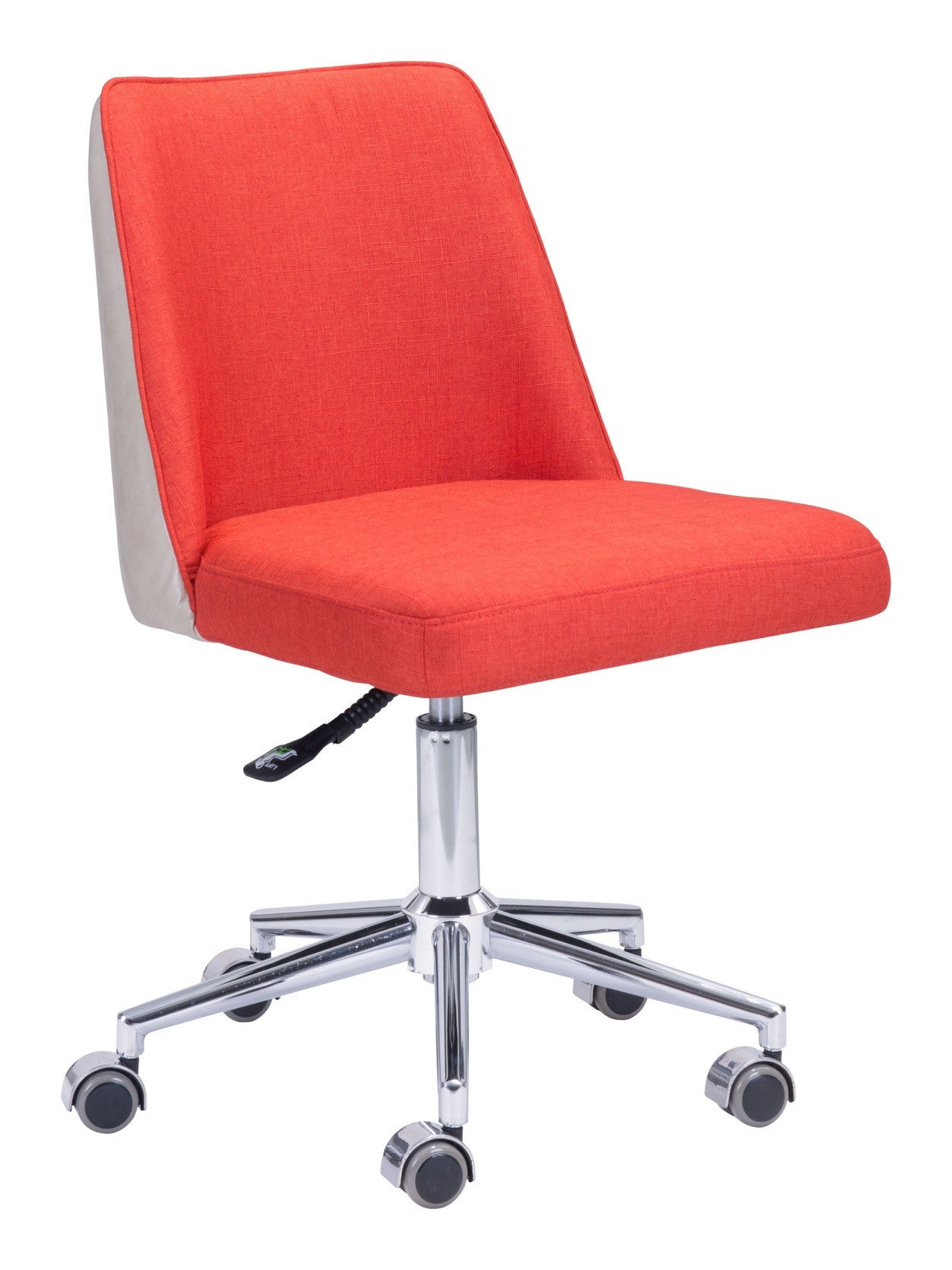 Season fice Chair in Orange Fabric with Beige Leatherette Back