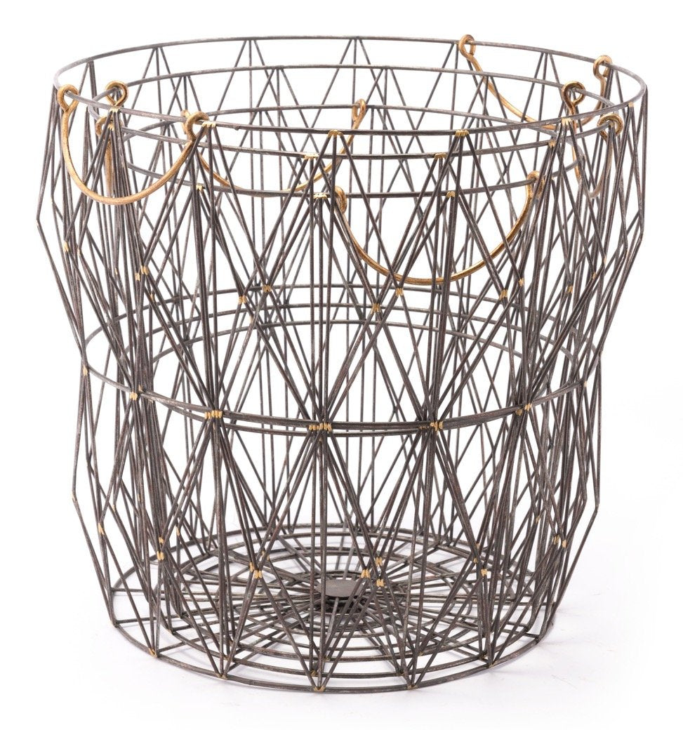 Set of 3 Wired Baskets in Antique with Gold Handles