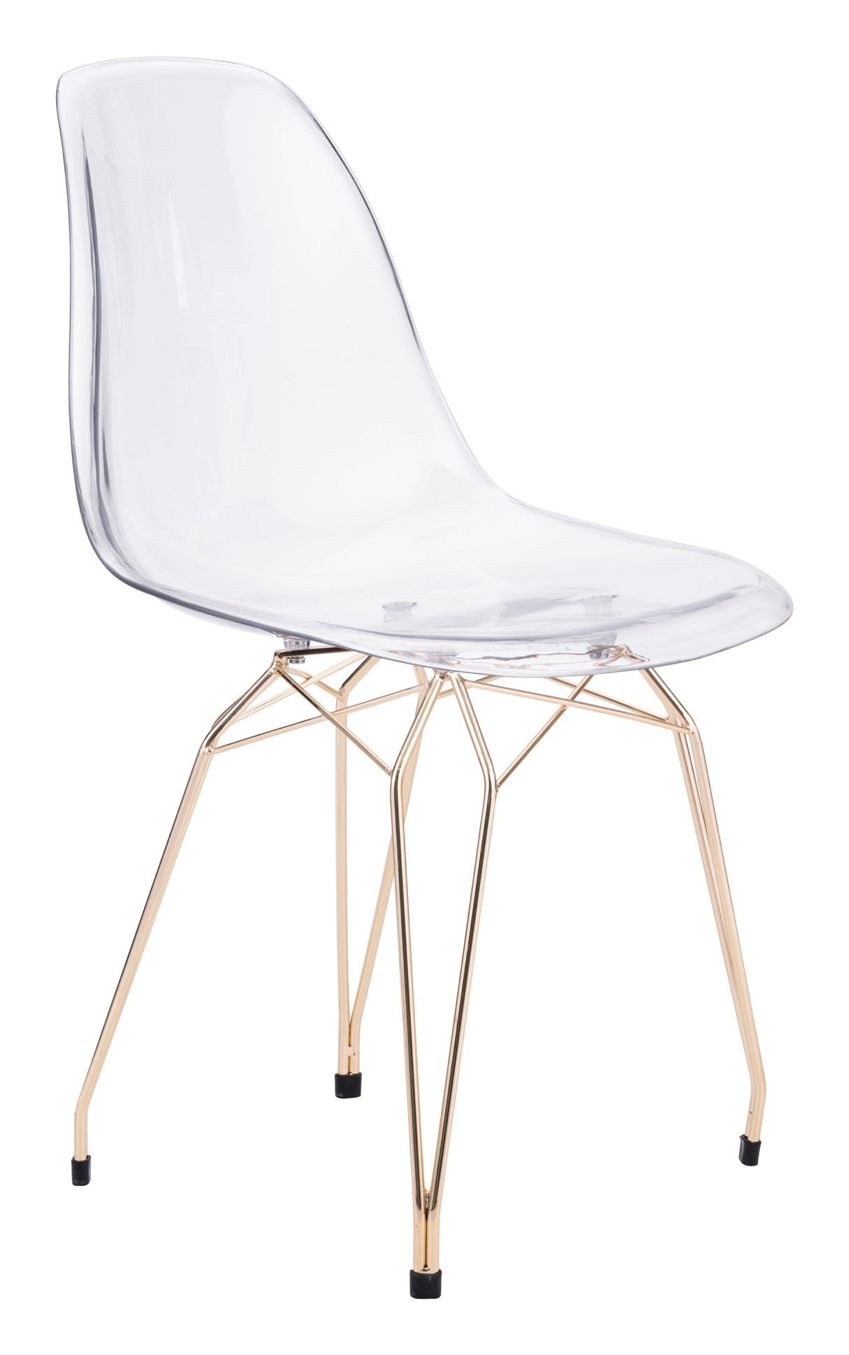 Shadow Dining Chair In In Transparent Polycarbonate On Gold Metal Legs (Set  Of 2) ...