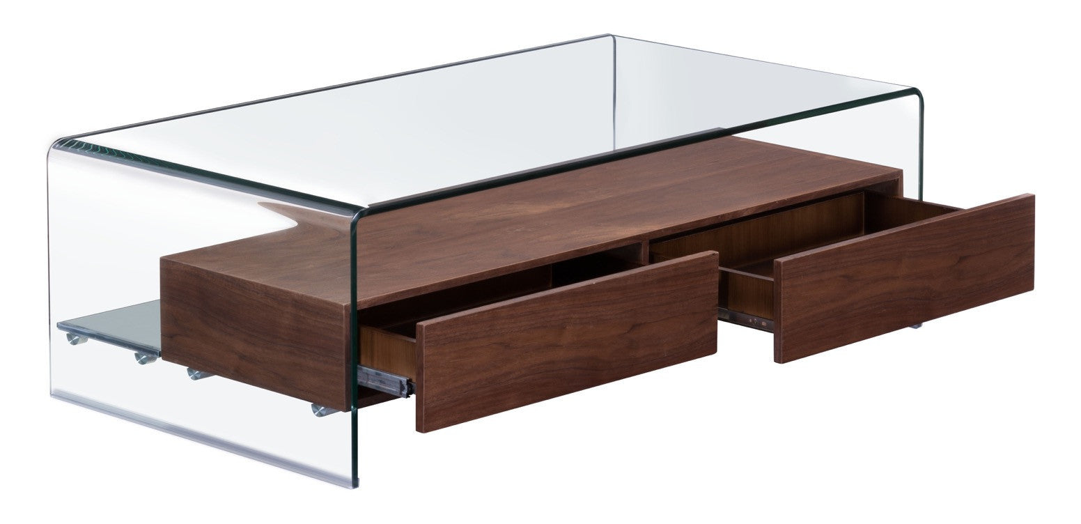 Shaman coffee table in curved tempered glass with thick walnut finish shaman coffee table in curved tempered glass with thick walnut finish shelf coffee tables geotapseo Choice Image