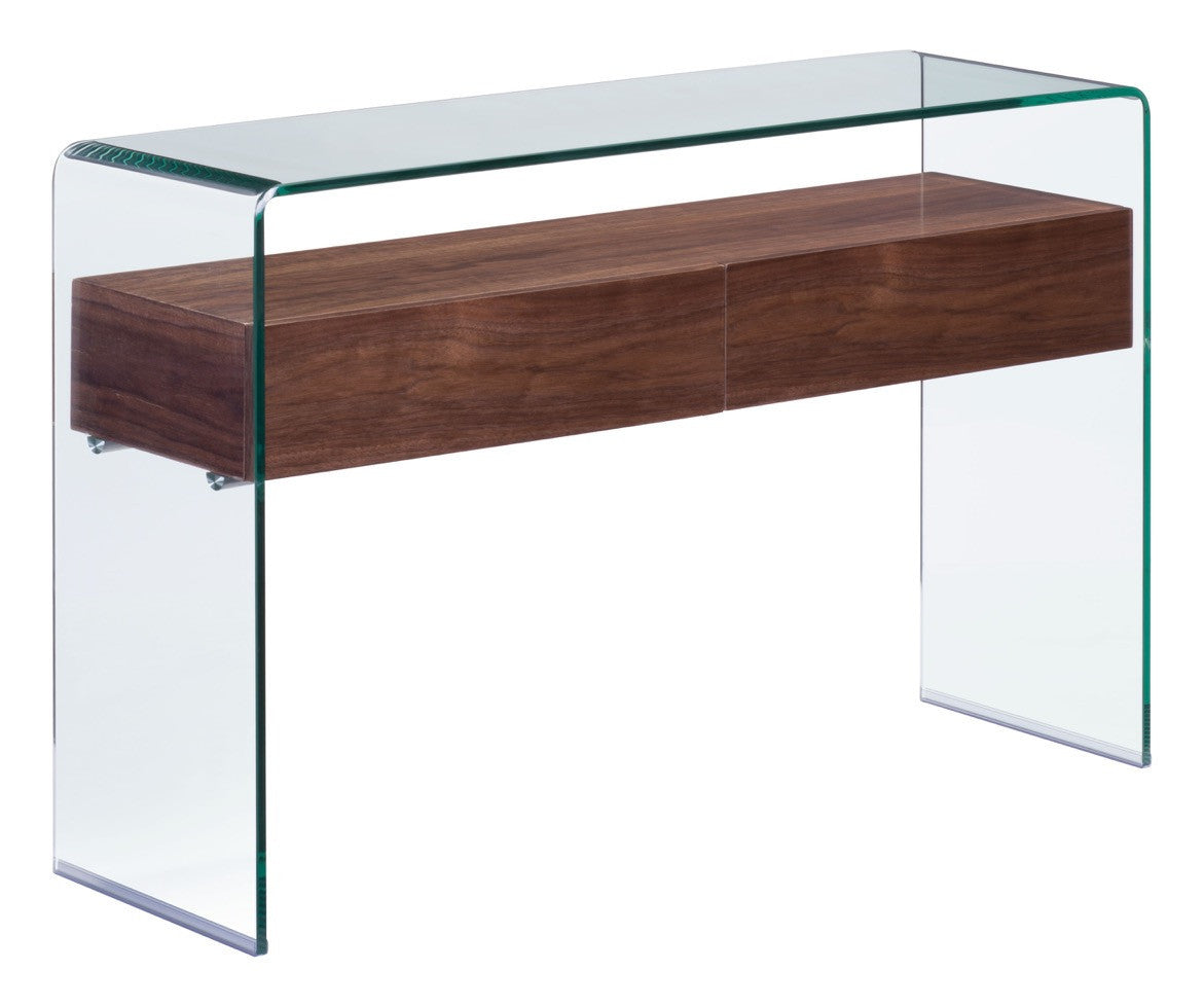 Shaman Console Table In Curved Tempered Glass With Thick Walnut Finish  Shelf Console Tables  ...