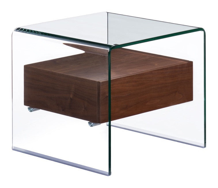 Shaman Side Table In Curved Tempered Glass With Thick Walnut Finish  Shelf Side Tables  ...