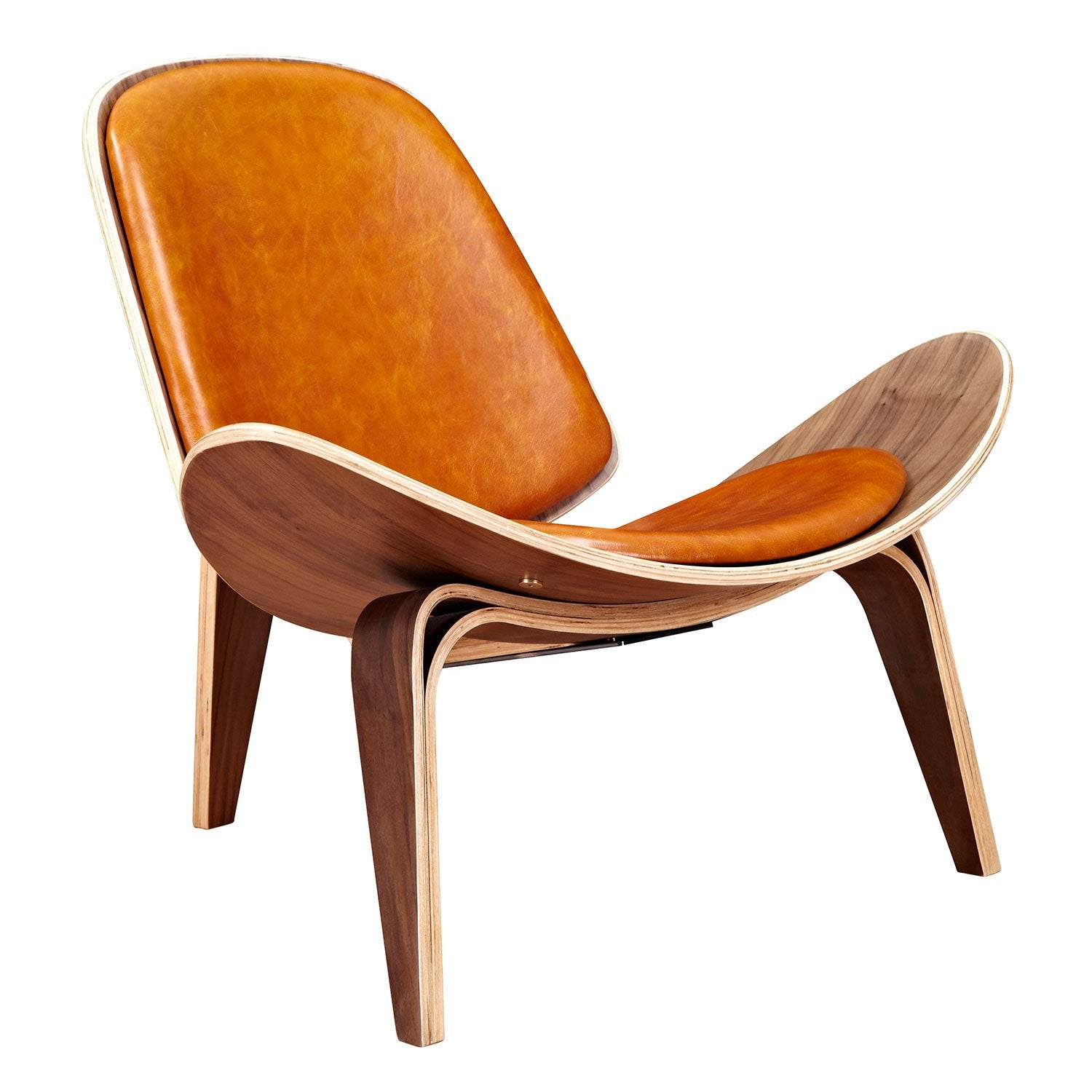 Shell chair with burnt orange top grain leather and walnut finish wood frame accent chairs
