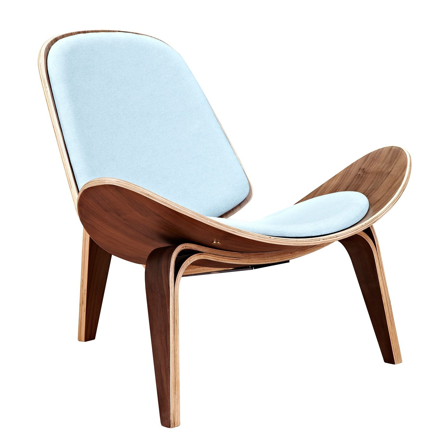 shell chair with glacier blue fabric and walnut finish wood frame accent chairs alan - Wood Frame Accent Chairs