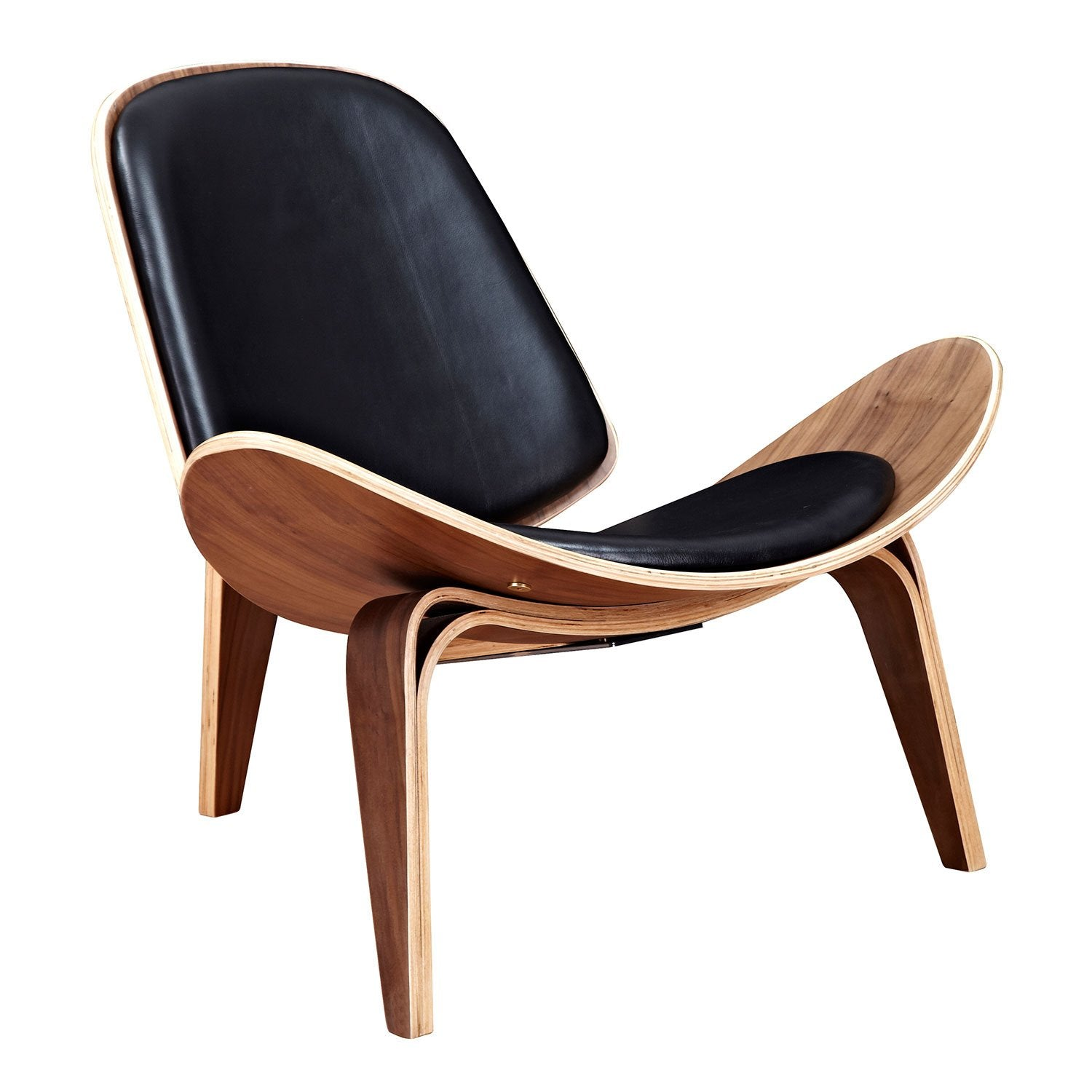 wood frame accent chairs. Shell Chair With Milano Black Leather And Walnut Finish Wood Frame-Accent Chairs-Alan Frame Accent Chairs