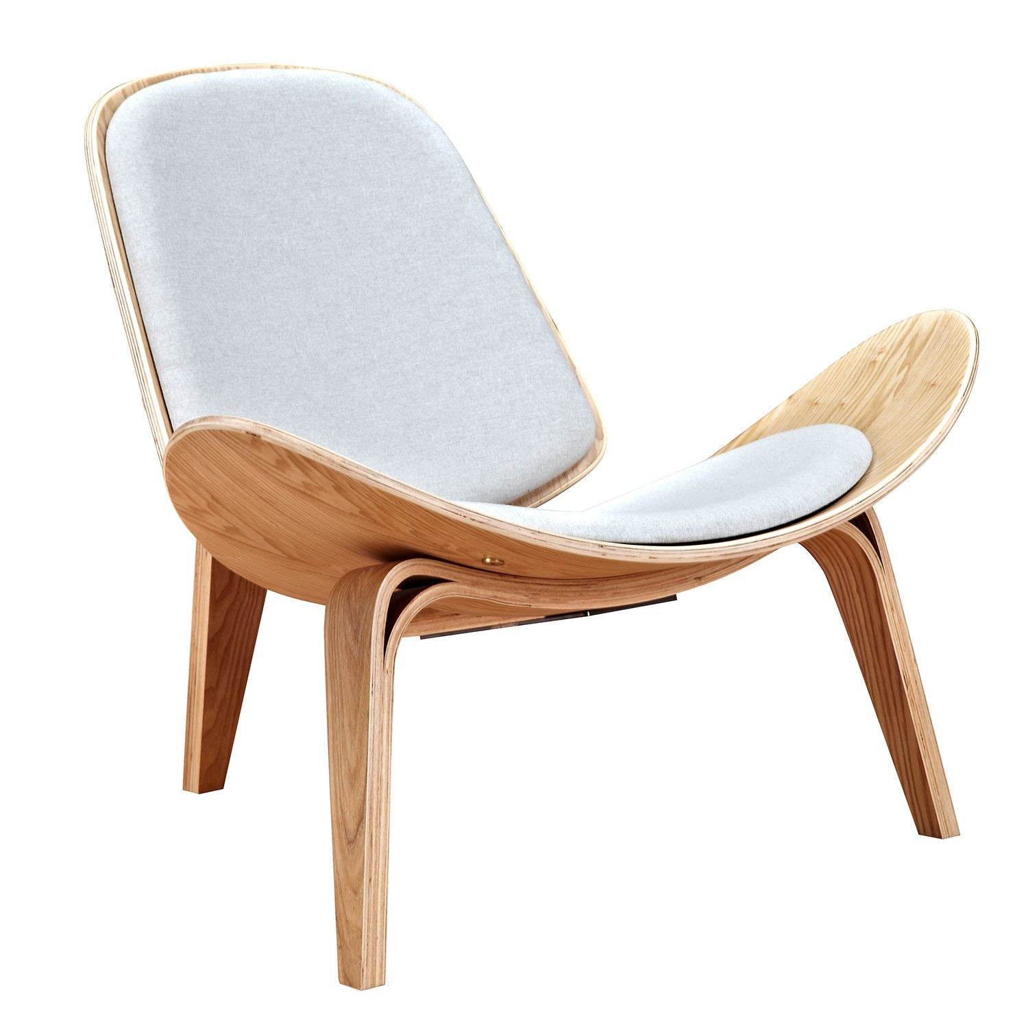 Shell Chair With Oatmeal Gray Fabric And Natural Finish Wood Frame Accent  Chairs Alan ...
