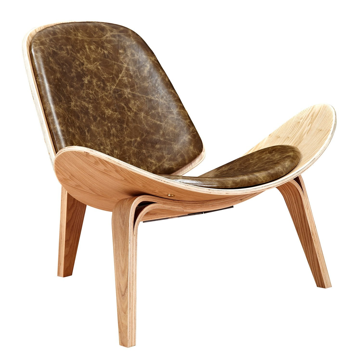 shell chair with palermo olive top grain leather and natural finish wo