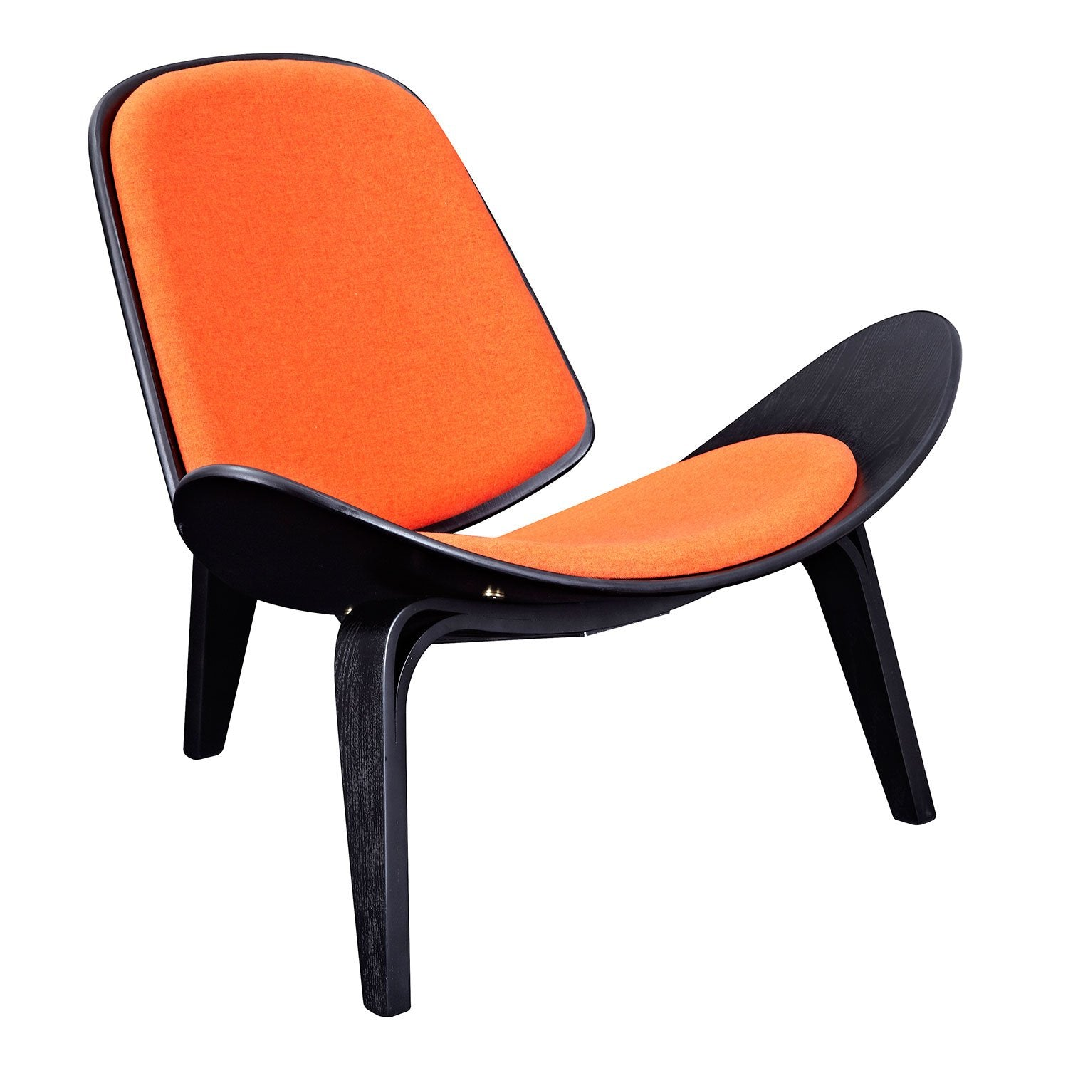 shell chair with retro orange fabric and black finish wood frame accent chairs alan - Wood Frame Accent Chairs