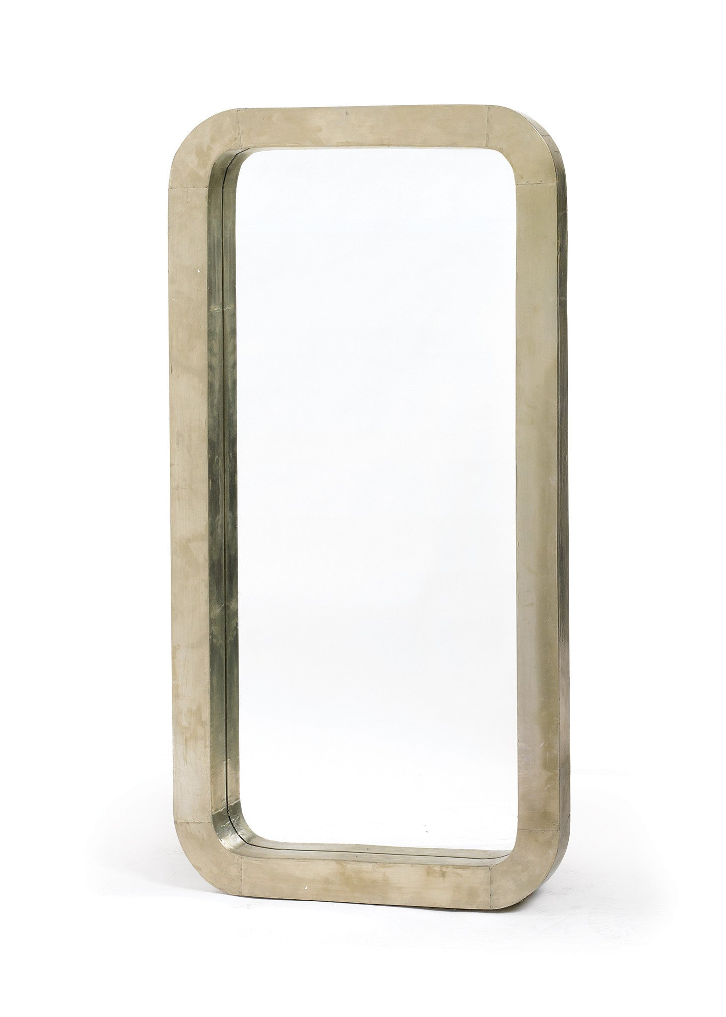 Smooth Frame Mirror in Nickel over Wood Frame