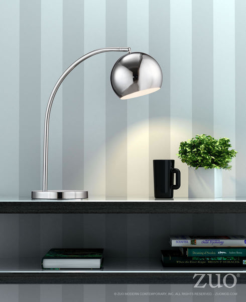 Solaris Table Lamp in Chrome with Round Chrome Shade