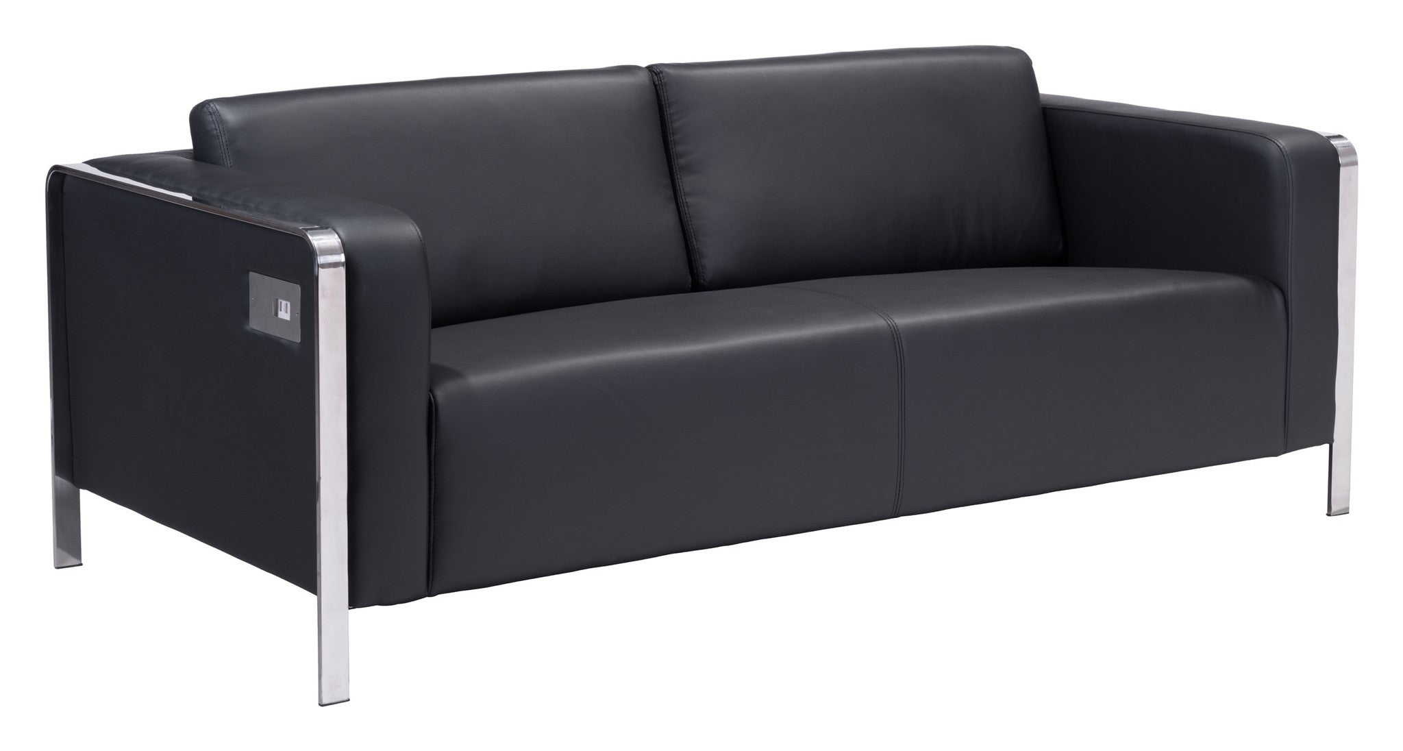 Thor Sofa In Black Leatherette With Stainless Steel Accent U0026 Legs Sofas Alan  Decor ...