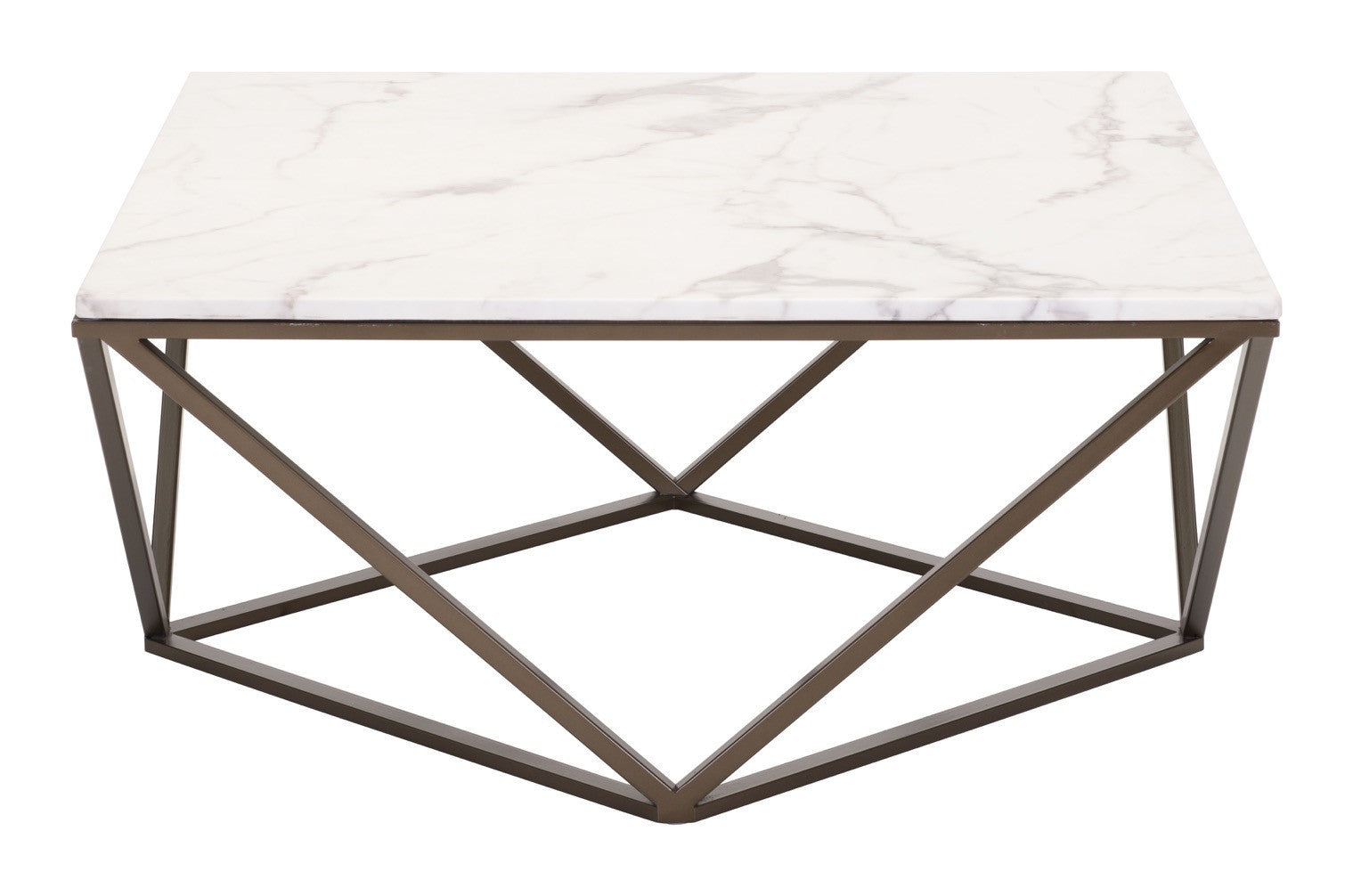Tintern Coffee Table In Faux Marble On Geometric Antique Brass Base - Geometric base coffee table