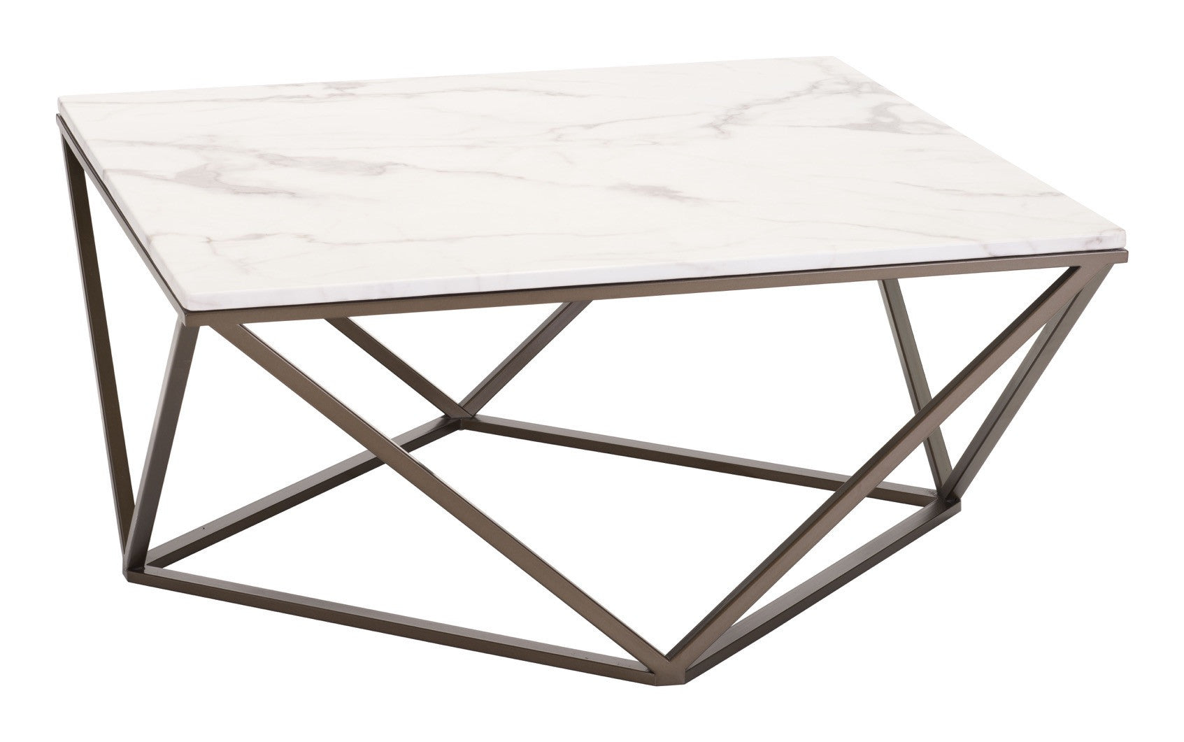 Tintern Coffee Table In Faux Marble On Geometric Antique Brass Base - Geometric marble coffee table