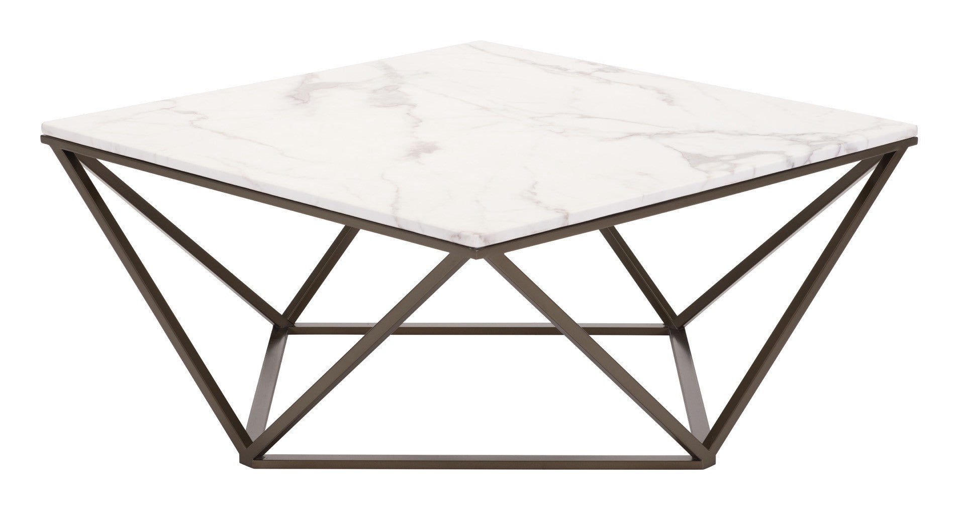 Tintern Coffee Table in Faux Marble on Geometric Antique Brass Base