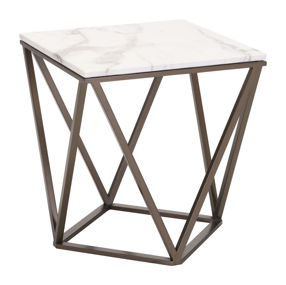 Tintern End Table In Faux Marble On Geometric Antique Brass Base - Geometric base coffee table