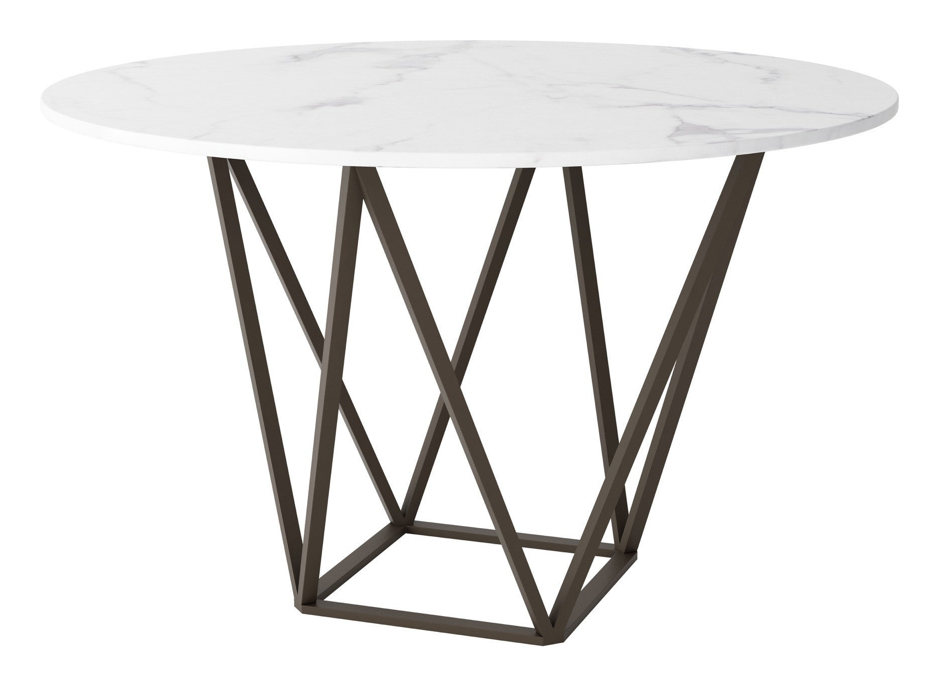 Tintern Round Dining Table with Faux Marble Top on Antique Brass Base